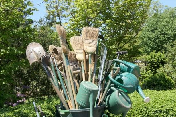 gardening tools leaves