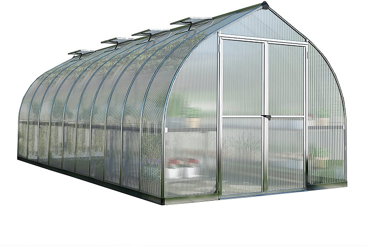 Palram Bella Hobby Greenhouse 8 x 20 Silver with Twin Wall Glazing