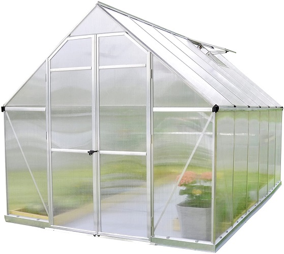 Palram HG5812 Essence Hobby Greenhouse, 8' x 12' x 8', Silver