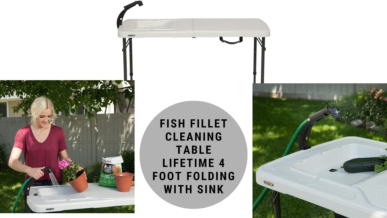 Fish Fillet Cleaning Table LIFETIME 4 Foot Folding with Sink