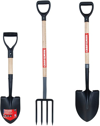 3-Piece Wood Handle D-Grip Digging Tool Set with Compact Shovel, 4-Tine Fork, and Round-Point Shovel
