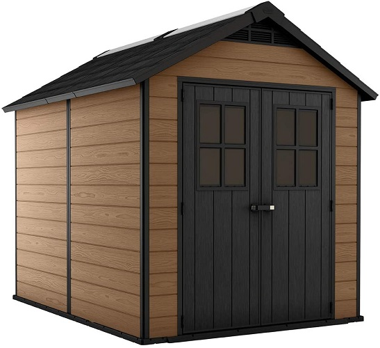 Measurements: Exterior: 112. 9 in. L x 89. 9 in. W x 99. 4 in. H/Interior: 103 in. W x 79 in. D x 92. 2 H IDEAL SIZE: Generous capacity limit of 395.5 cubic feet Pitch CONSTRUCTION: Made from polypropylene tar plastic and steel fortified to guarantee solidness - won't strip, decay or rust and never needs painting, in contrast to genuine wood Solid: Weather-safe and too rough and tough with a twofold divider structure, tongue in depression development, and steel support LIGHT and AIRY: Skylight and two windows to allow in normal light and vented for air dissemination Alluring: Stylish wood-like surface will add polish to any open air space Flexible: Use as a capacity shed for a push grass trimmer, bicycle stockpiling, yard apparatuses, digging tools, and porch furniture