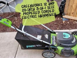 Greenworks 12 Amp 20-Inch 3-in-1 SELF PROPELLED CORDED ELECTRIC LAWNMOWER