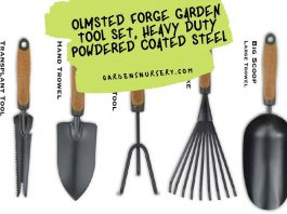 OLMSTED FORGE Garden Tool Set, Heavy Duty Powdered Coated Steel