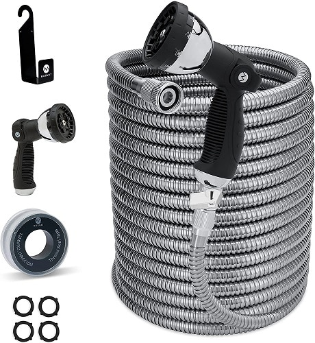 Morvat New And Improved 100 Foot Stainless Steel Garden Hose