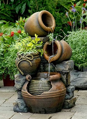 Tiered Box Planter Water Fountain
